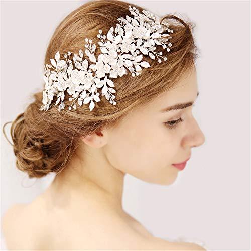 Tiara Nupcial Floral Plateado