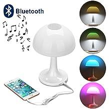 Liqoo Lampada da Tavolo e Abat-jour Atmosfera a Forma di Fungo 8W 7 Colori da Cambia Luce Notturna Lampada da Scrivania Illunazione per Bambini Camera da Letto Bluetooth con Altoparlante Musica Player USB Cavo