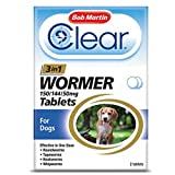 Clear by Bob Martin 3-in-1 Wormer Tablets for Dogs, Pack of 2