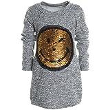 Mädchen Longshirt Bluse Shirt Pullover Langarmshirt Strickkleid Sweatshirt 20676, Farbe:Grau;Größe:152