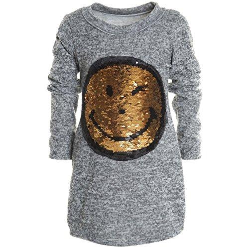 Mädchen Longshirt Bluse Shirt Pullover Langarmshirt Strickkleid Sweatshirt 20676, Farbe:Grau;Größe:104