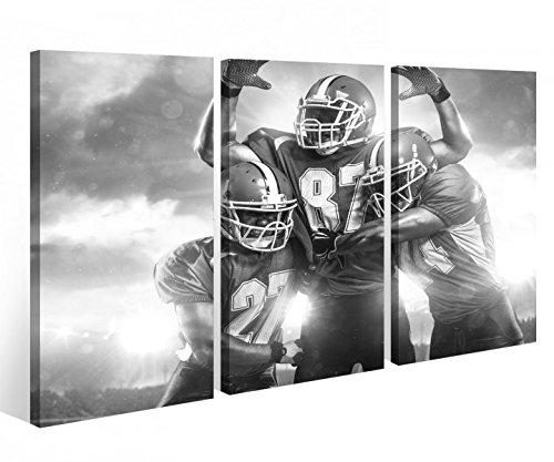 Leinwandbild 3 Tlg. American Football Touchdown Sport Leinwand Bild Bilder Holz fertig gerahmt 9P772, 3 tlg BxH:120x80cm (3Stk 40x 80cm) - American Leinwand
