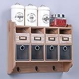 SIMMER STONE rustikales Wandregal – Holz dekorative Wand-Organizer mit 4 ausklappbaren Schubladen, 4 Draht-Schubladen und 3 Haken zum Aufhängen
