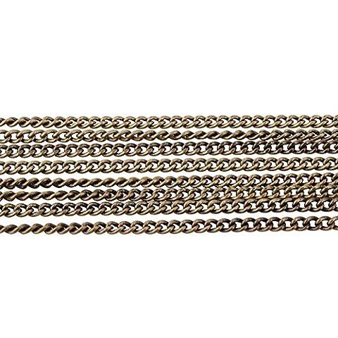 PandaHall Elite- 1 sac/ 5 Yard Sans Nickel Laiton Chaines bord Courbe Taille 1.5x1x0.35mm Forme Ovale 16 Feet pr Creation de bijoux chaine Antique