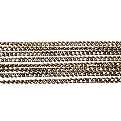 PandaHall Elite 5 Yard Nickelfrei Messing Twist Curb Kette Groesse 1.5x1x0.35mm Oval fuer 16 Feet Schmuck machen kette Antique Bronze (Messing Twist)