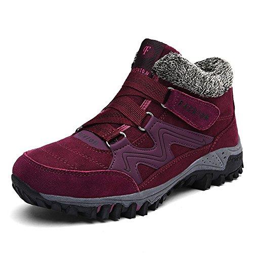 ZOEASHLEY Damen Herren Winterschuhe Boots Warm Gefüttert Winter Stiefel Trekking Outdoor Schuhe mit Klettverschluss Gr.36-45