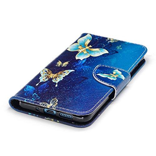 Huawei P10 Lite (5.2 pouce) Coque , PU Cuir Étui Protection Wallet Housse la Haute Qualité Pochette Anti-rayures Couverture Bumper Magnétique Antichoc Case Anfire Cover pour Huawei WAS-LX1/LX1A - Pand Bleu Papillon