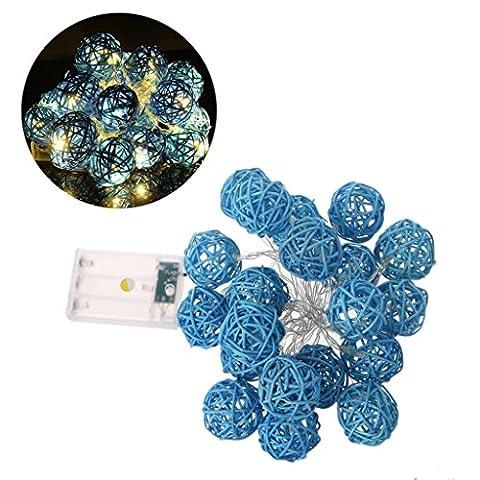 Haorw 20 LED 2.2m Rattan Ball Fairy String Light Lamp w/Battery Box Wedding Xmas Party Decor (Blue)