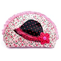 PINK FLOWERS WITH SMALL POLKA DOT HAT WASH BAG WITH DOUBLE ZIP PULLER