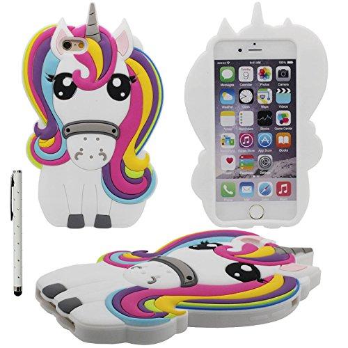 iPhone 7 Hülle Case Bumper Silikon Kunststoff Gel Schutzhülle Schön 3D Catoon Pferd Entwurf Handyhülle für Apple iPhone 7 4.7 inch X 1 Stylus-Stift Weiß
