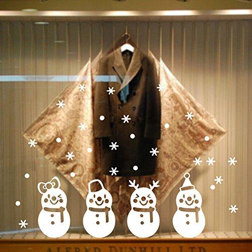 Heekpek decorazioni natalizie adesivo di natale 4 adesivi di pupazzo di neve di natale vetro negozi caffetterie vetrine adesivi per la decorazione della casa