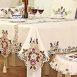 DKEyinx Rechteck Pastorale bestickte Blumenmuster Tischdecke Home Decor, 60 x 60 cm, Polyester 60 * 120cm