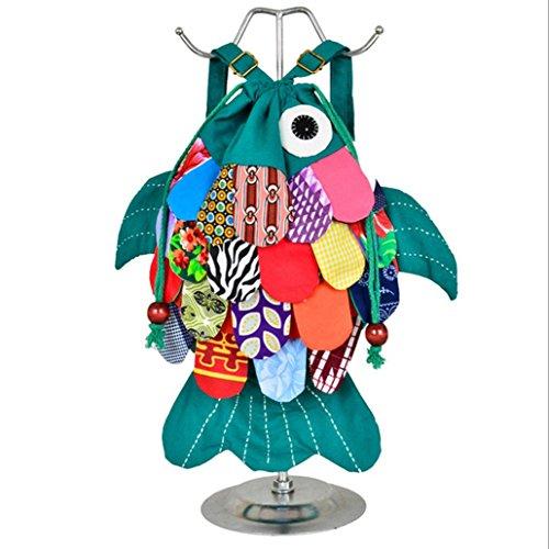 longlove Yunnan ethnische Besonderheiten handgefertigt Cloth Stil Schultertasche Süße Kätzchen Fisch Cartoon Charakter Rucksack Blue flowers