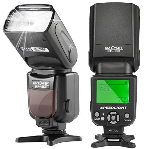 K&F Concept KF-560 Universal Blitzgerät Blitzlicht Speedlite für Canon Nikon Fuji Olympus Sigma GN 35 mit LCD-Anzeige