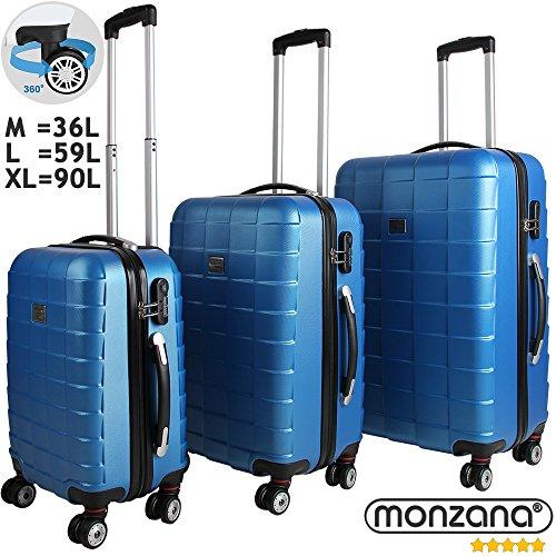 Juego de 3 maletas rígidas con cierre Q-Design color azul - Equipaje De Viaje con ruedas Maleta de plástico ABS flexible ruedas dobles de goma (con giro de 360°)