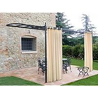 Cortina con tirantes para cenador exterior, 160 x 280 cm, color crudo