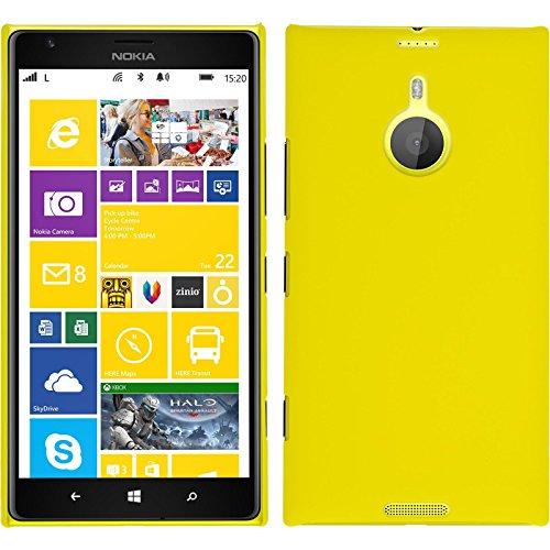 PhoneNatic Case kompatibel mit Nokia Lumia 1520 - Hülle gelb gummiert Hard-case + 2 Schutzfolien