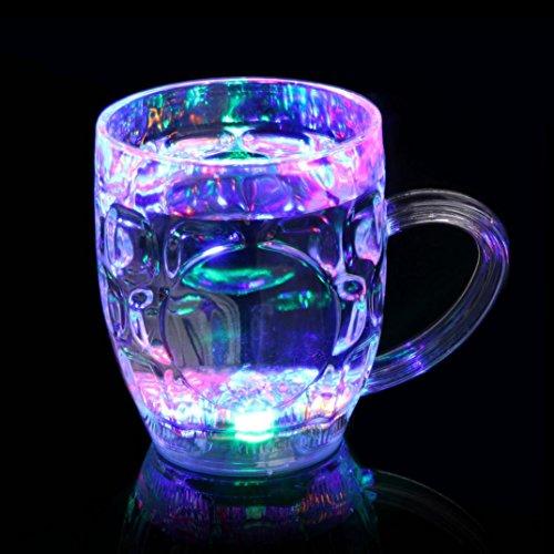 Upxiang Led Weinglas, Distinctive Blinkt Led Weinglas, Leuchten Barware Drink Cup, Drinkware Tumbler Becher Tasse Sensor leuchten, LED glänzend Glas Tasse für Bar Club Night Party (D) (Mason Jar-cup Für Kinder)