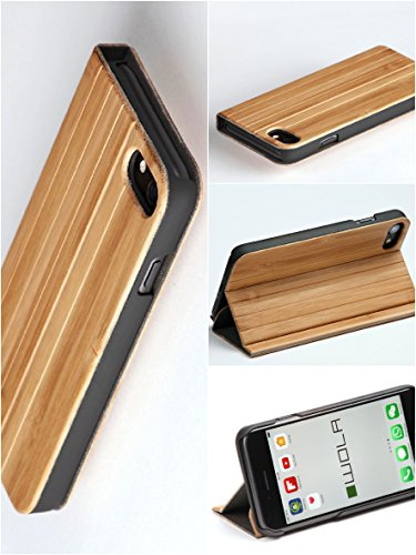 "WOLA cover a flip ""FORREST"" per iPhone 7 in bambù naturale. Case elegante per Apple i-Phone 7, effetto legno."