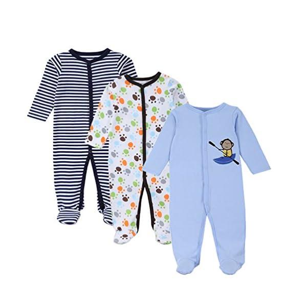 YOUJIA - Pijamas Bebe - Manga Larga - Paquete de 3 - Jumpsuit - para Bebé Niños y Niñas 1