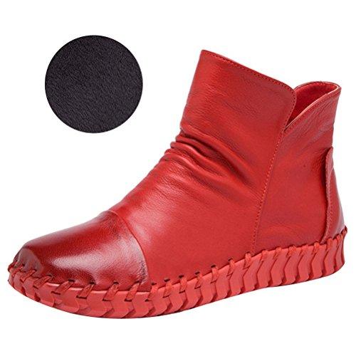 Vogstyle Damen Vintage Handgefertigte Lederstiefel Flach Stiefel Art 2 Fleece Rote