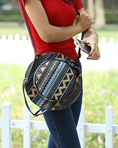 Borse a Tracolla Sacchetto Donna, Borse di Stile Cappello Rotondo Borse a Mano Elegante Zaino Stampato 5