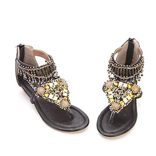 ndals Frauen Sommer Strand Sandalen flache Zehe Hausschuhe ethnischen Stil (Farbe : Schwarz, größe : 40/UK6.5/US7.5/250mm) (Uk National Kostüm Für Kinder)