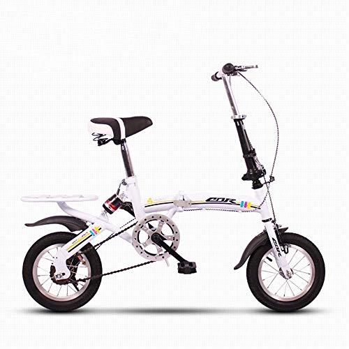 KOSGK Faltrad Deluxe-Fahrräder 12 Zoll Mini kleine tragbare Ultraleicht-Dämpfung nimmt keinen Platz EIN (Farbe: Weiß)