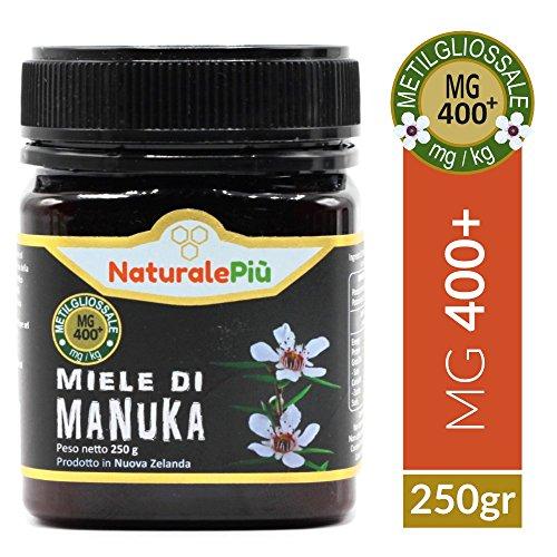 Miele di Manuka 400+ MGO 250 gr | Prodotto in Nuova Zelanda, Attivo e Grezzo, Puro e Naturale al 100% | Metilgliossale Testato |