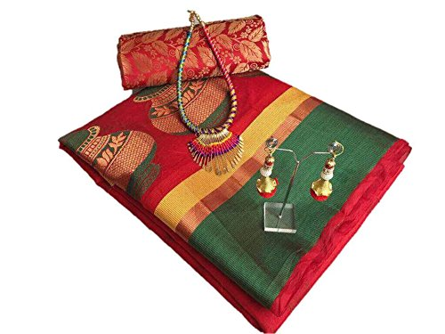 Fabattic Women's Tassar Silk Saree With Blouse Piece (Chi143, Red & Green...