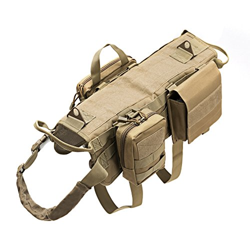 Petvins Tactical Vest Hund Molle-Harness Verstellbare Outdoor Training Service Camouflage Geschirr mit 3Abnehmbare Beutel, XL, Braun -