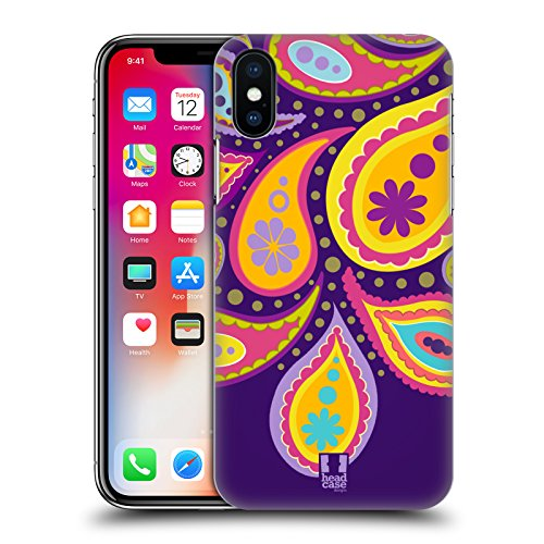 Head Case Designs Kiwi Pattern Paisley Cover Retro Rigida per Apple iPhone X Taro