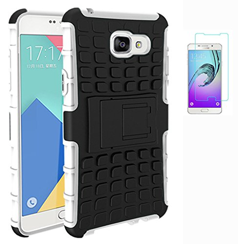 Preisvergleich Produktbild ISENPENK Samsung Galaxy A7(2016)/A710F/A7(2016)Duos Hülle,Ultra Slim TPU+PC Silikon Tough Rugged Dual-Layer Hardcase with Built-in Kickstand Schutzhüllen Wasserdicht Shockproof Anti Slip Protection Thin Tasche für Samsung Galaxy A7(2016)/A710F/A7(2016)Duos 5.5Zoll-[weiß]+Panzerglas Folie Displayfolie Displayschutzfolie