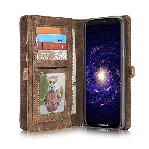 Samsung Galaxy S8 Leder Case Hülle mit Kartenfächer Geldschmühelosmit Reißverschluss Magnet Handy Schutzhülle, Braun