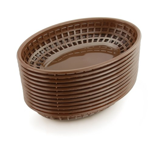 New Star Foodservice 44119 Fast Food Baskets, 9.25 x 6 Inch Oval, Set of 36, Brown