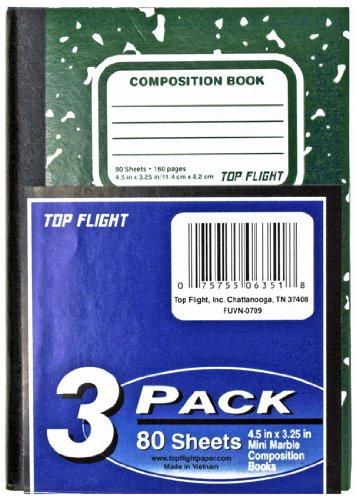 Top Flight geklebt mini-marble Zusammensetzung Buch, schmal, Rule, 11,4x 8,3cm, 80Blatt, eingeschweißt mit Einsatz, 3er Pack, blau/schwarz/grün (06351)