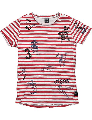 Replay Sb7511.051.20994t, T-Shirt Bambino, Multicolore (Red White Stripes), 152 (Taglia Produttore: 12A)