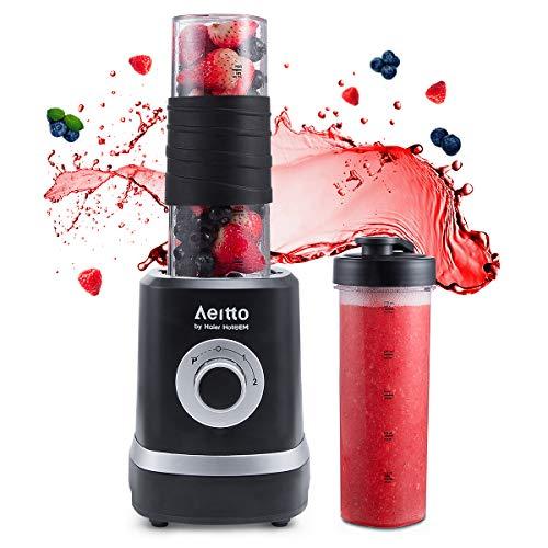 Mini Mixer Smoothie Maker, Aeitto Standmixer Mini Blender, Shake Smoothie Mixer Blender mit 2 520ml Reise Sport Flaschen BPA-frei Tritan-Trinkflasche, 3 einstellbare Geschwindigkeit (Blender Reisen)