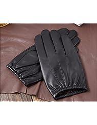 Los guantes calientes guantes y cómoda Los guantes de cuero guantes de cuero de los hombres 's de equitación Guantes de invierno guantes calientes del ante Hombres Thin Touch - Screen ( Color : Negro , Tamaño : L )