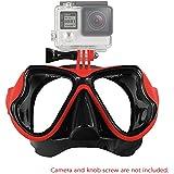 Andoer impermeable-Máscara de buceo con tubo de buceo gafas de natación Máscara facial incluye soporte de montaje para GoPro Hero 1, 2 y 3 3 4 SJCAM SJ4000 SJ5000 Dazzne P2 romaric Yi para cámara de acción rojo