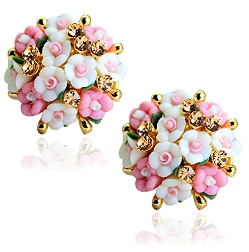 Youbella Jewellery Gold Plated Flower Shape Resin Stud Earrings For Women