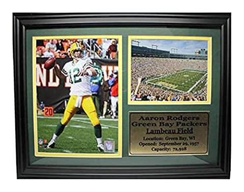 Encore Select 126-01 NFL Green Bay Packers Framed Aaron Rodgers Photo and Lambeau Field Print, 12-Inch by