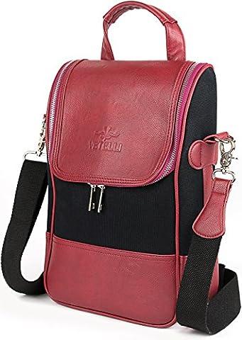 Vetelli Wine Carrier Tote Bag - Leather Cooler Case Red, Black