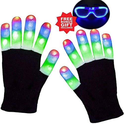 Anzmtosn Kinder leuchten Handschuhe Kind Kinder Finger Licht blinkende LED warme Handschuhe Lichter Show für Geburtstag Halloween Weihnachten Xmas Dance Rave Party Bonus Led Brille
