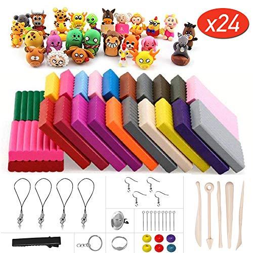 mopalwin Argilla Polimerica, Forno Cuocere DIY colorato Argilla Sicuro 24 Colori con Strumenti di modellazione,Best Gift for Kids