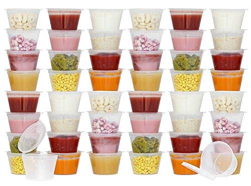 tovla Einweg 3Oz Baby Frischhaltedosen mit aufklappbaren Deckel (Amtsheftung) | Reise Snack Cups | Homemade, Bio Pürees | BPA frei, Gefriergeeignet