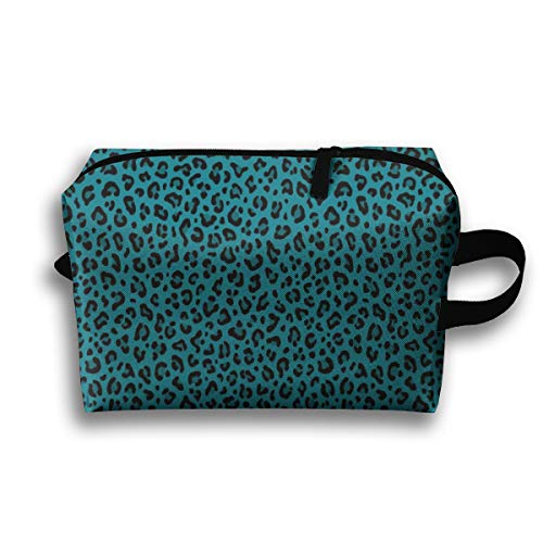 Makeup Cosmetic Bag Leopard Print In Teal Blue Small Scale Collection Leopard Spots Punk Rock Animal Print_55319 Medicine Bag Zip Travel Portable Storage Pouch for Adult 10