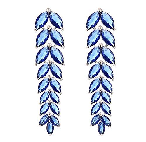 nine tail fox boutique di moda orecchini di zircone delle donne lungo tratto esagerati orecchini , blue