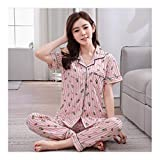 HAOLIEQUAN Spring and Autumn Summer Pajamas Set Ma'am Thin Section Cardigan Trousers Women Home Clothes Ladies Two Piece Suit,1705 Xiaoboluo,L