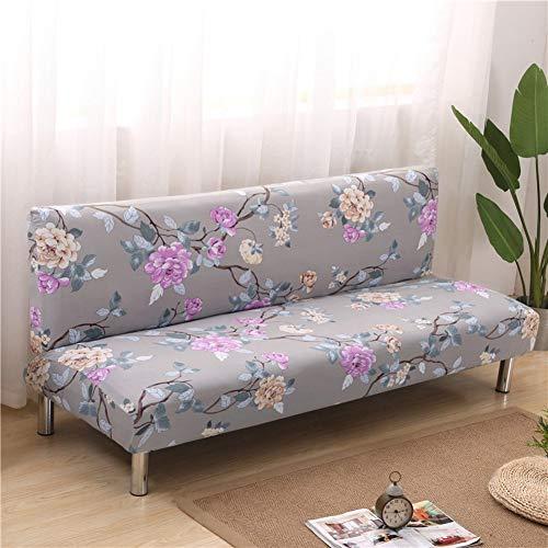 WENYAO Fundas de sofá Cama elásticas sin Brazo, Protector de Funda de sofá Antideslizante Floral de poliéster de 1 Pieza para Sala de Estar-M 63-75in